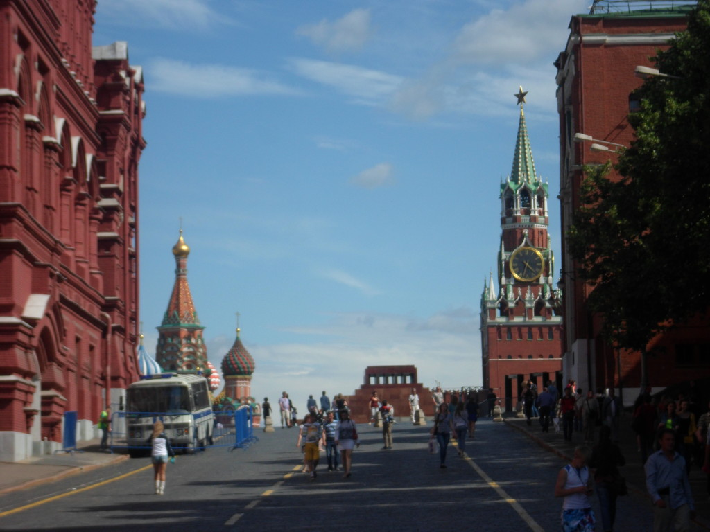 First glance at Red Square -- St. Basil's Cathedral toward the left, Lenin's mausoleum in the middle, the Kremlin on the right.