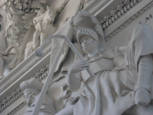 Detail of one of 2,000 carved figures at Saints Peter and Paul