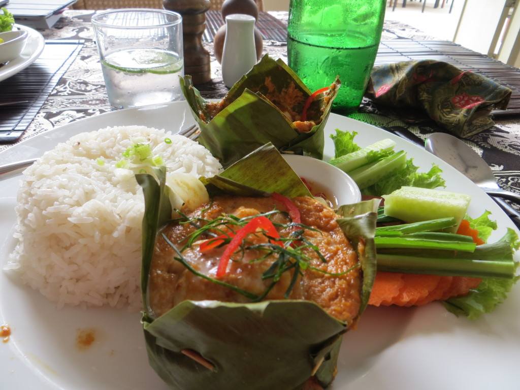 """... spicy peanut sauce, served in a banana leaf """"bowl"""" - every day at"""