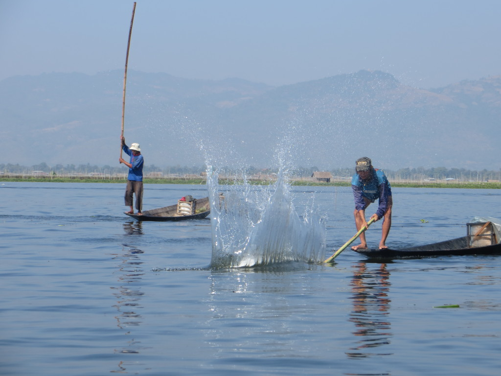Here they are using long, heavy sticks to slap the water - over and over and over again - to scare the fish into their nets. It has to be backbreaking work.