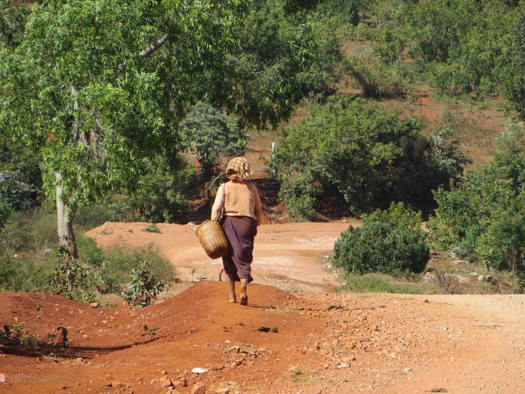 A very typical stretch of road - dirt and gravel, with local people walking along