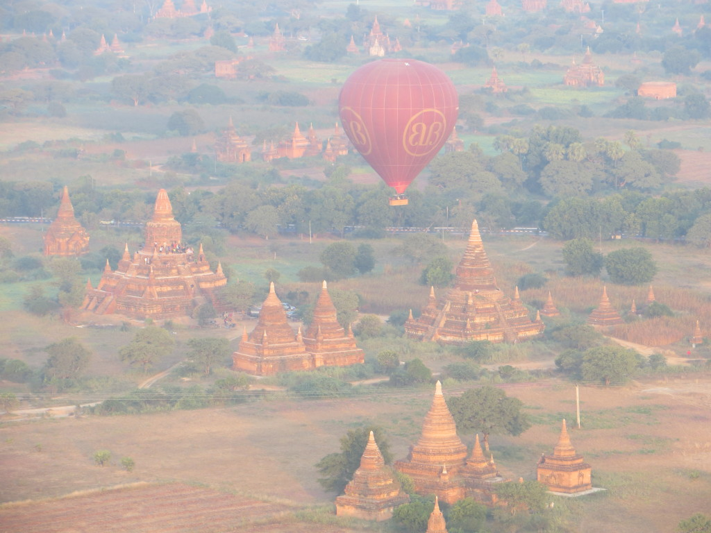 The temples of Bagan are an awesome backdrop for ballooning.