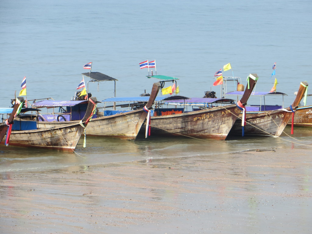 There were always lots and lots of long tailed boats lined up to take you to the many islands in the area.