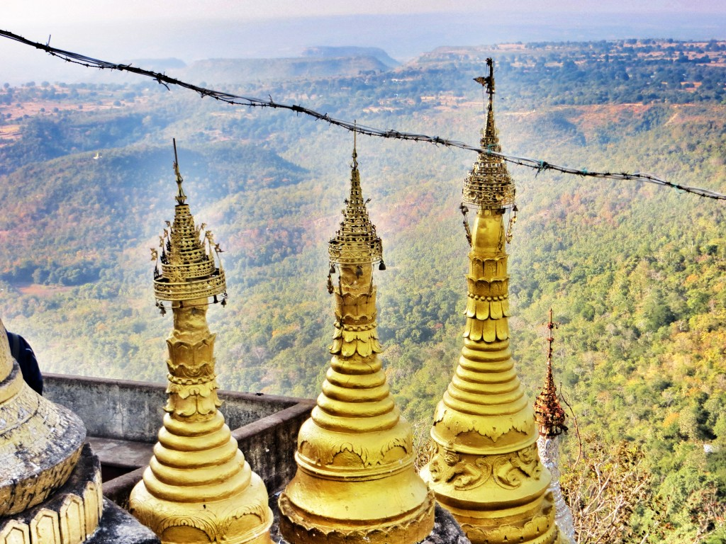 From Bagan we took two days to ride out to the holy site of Mt. Popa and back just before the end of the year.
