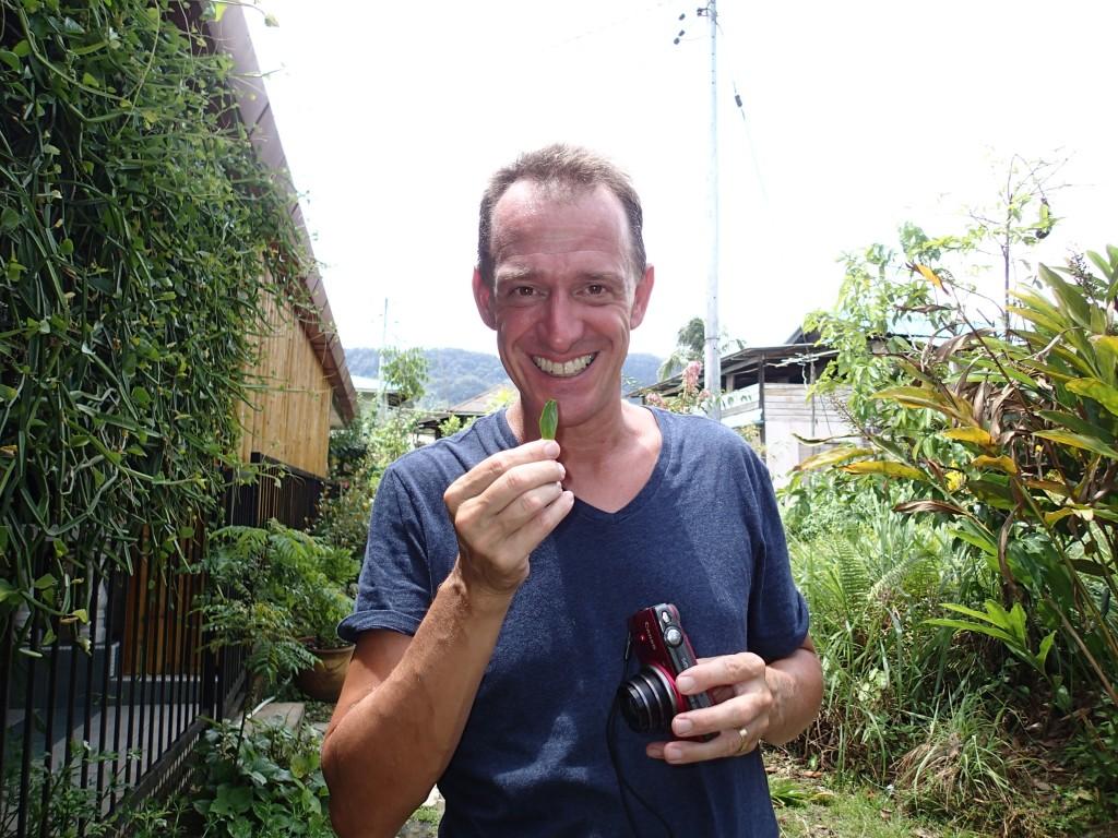 Mark tasting a jungle herb