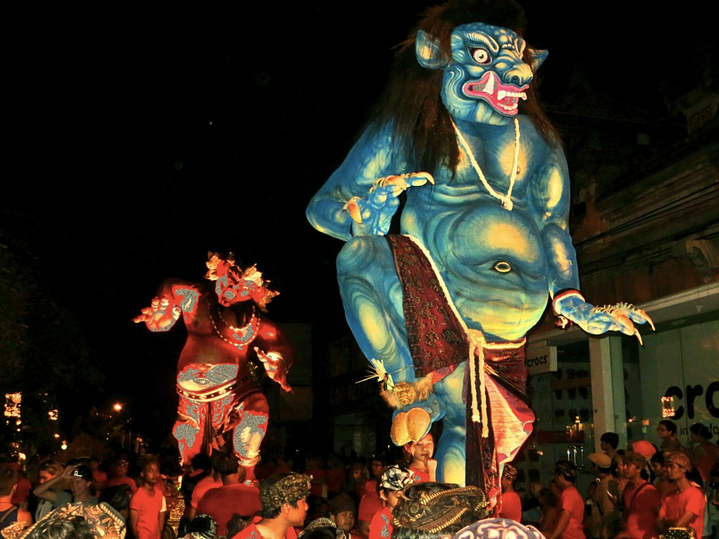 Finally, night comes and the parade begins. Here are two of the ogoh-ogoh being carried through the streets of Bali.