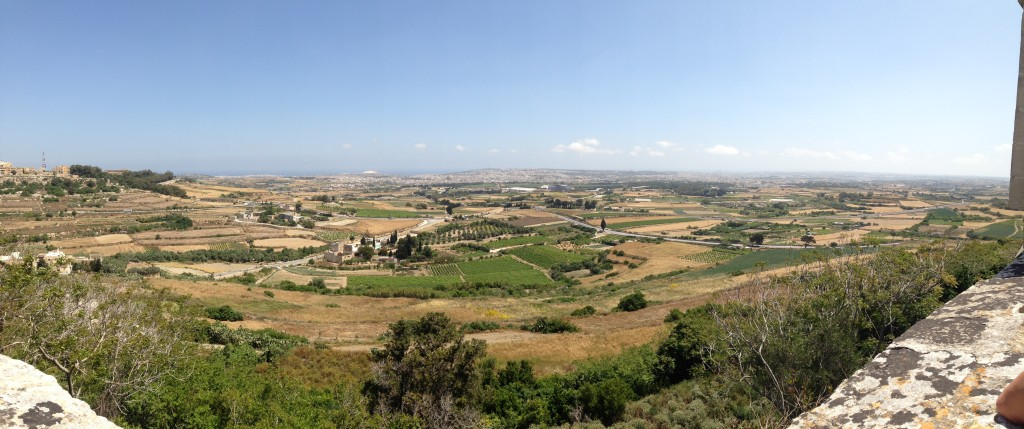 Having learned to use the panorama setting on my iPhone, here's a view of the Maltese countryside from Mdina