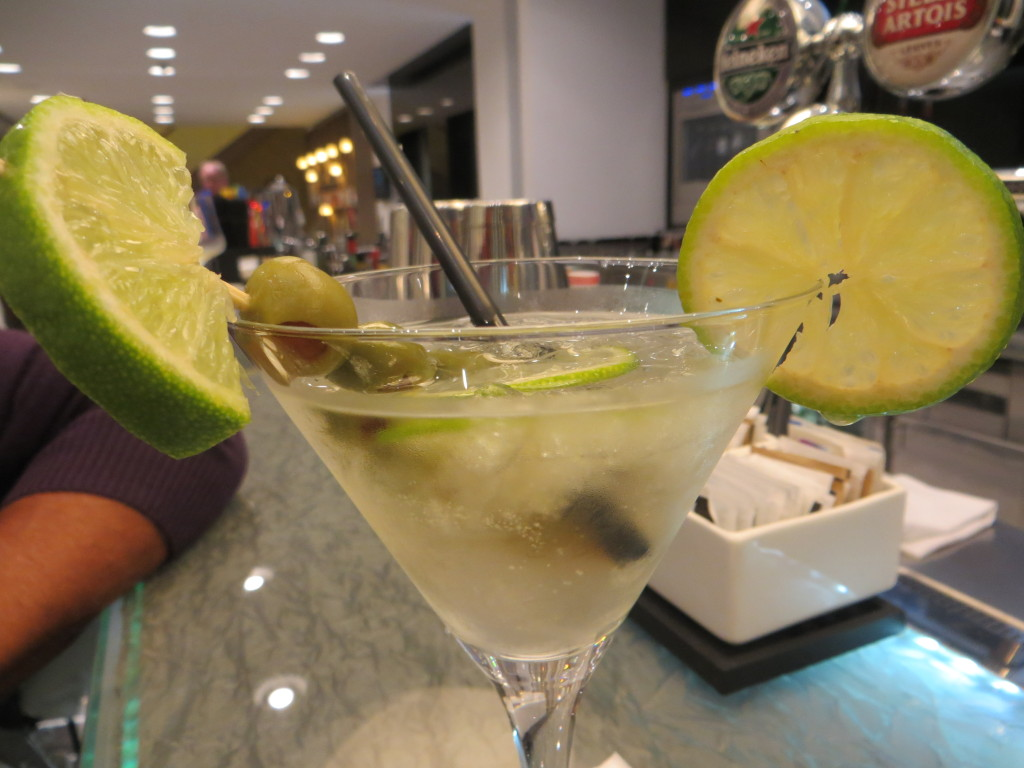 And finally, this. Everything that could be wrong with a Martini. Either shaken or on the rocks, not both. No citrus - not on the glass, in the glass, or on the stick with the olives. And definitely not all three. And no straw. Ever.