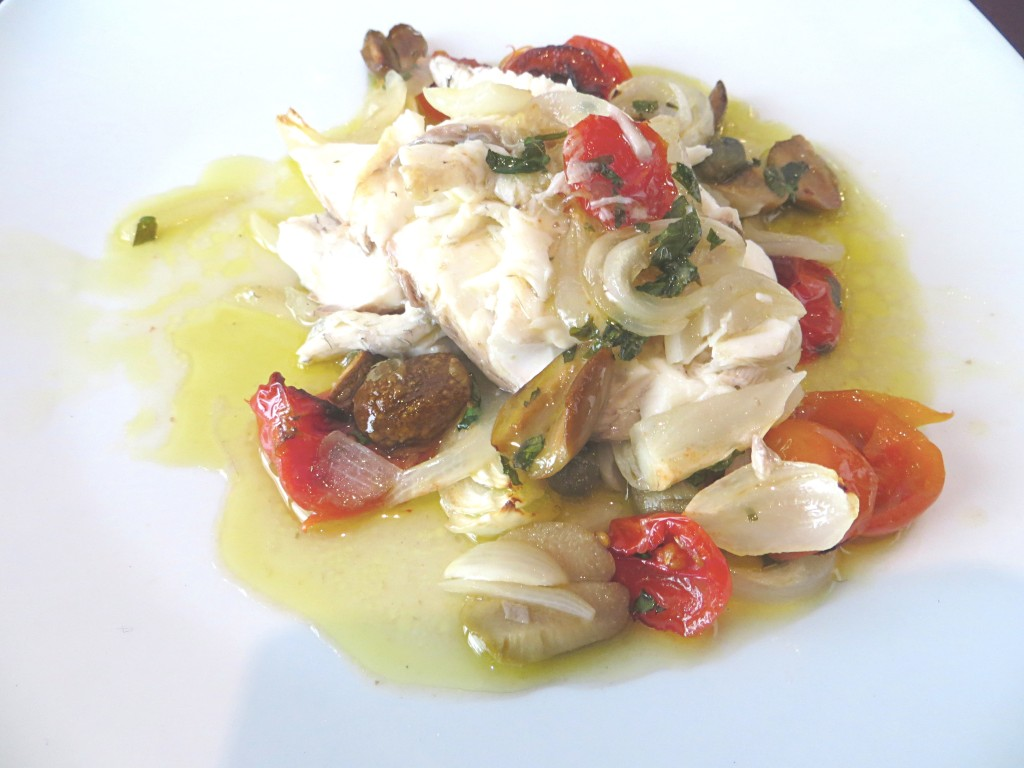 Pesce alla Messinese -- fish with olives, tomatoes, onions, capers