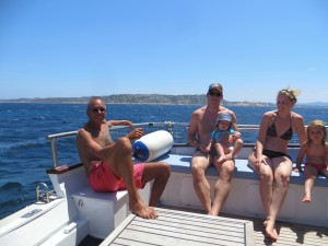 Jim relaxes with Tommy from Switzerland and his German wife Claudia and their two sweet kids