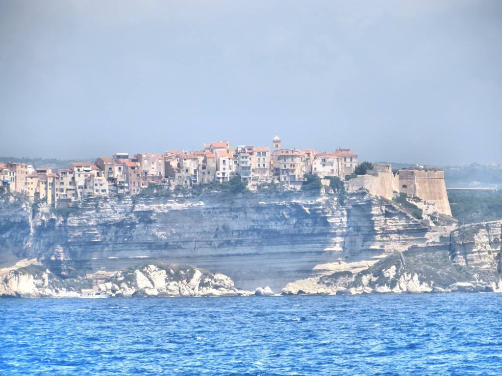The view of Bonifacio from the sea. Those cliffs are about 230 feet high; you would think the people living in those buildings would be just a little bit nervous.
