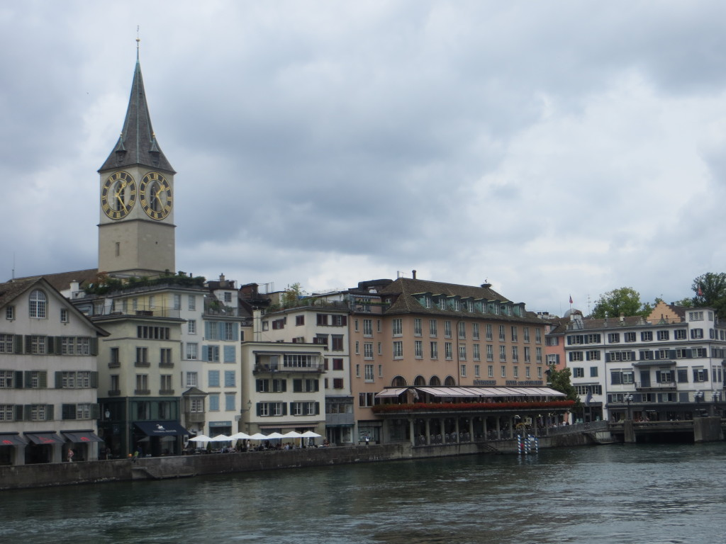 Gray Zurich, with Europe's largest clock face in view