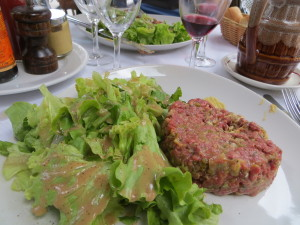 ... and beef tartare for the main course.