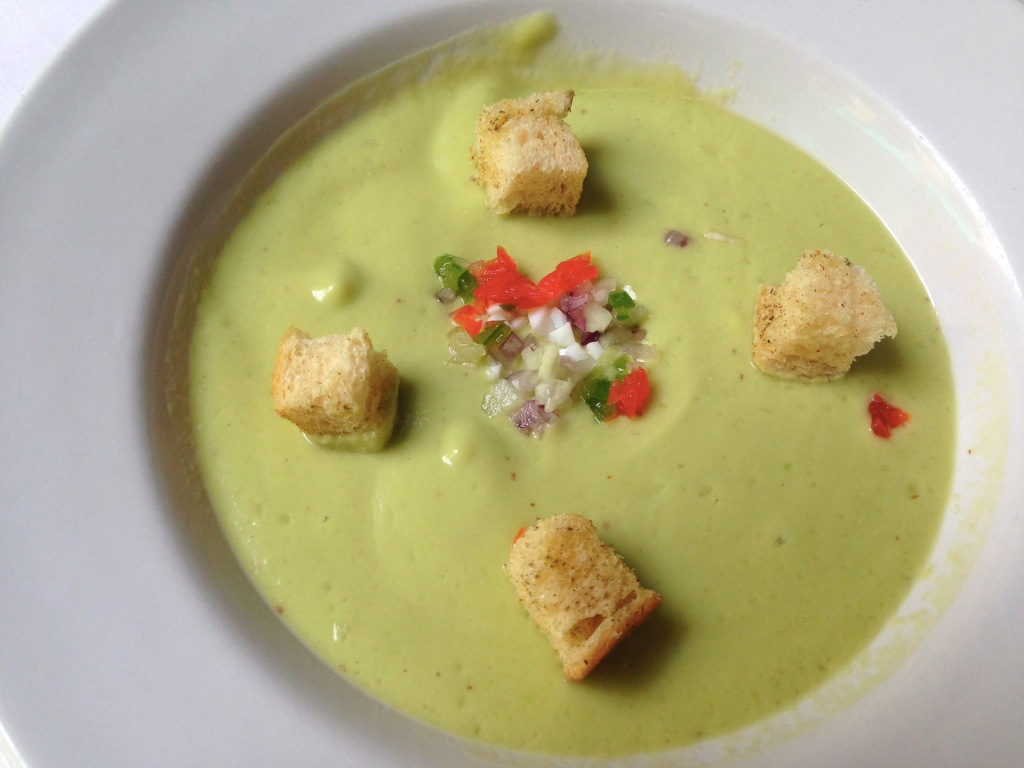 Cold cream of avocado soup is awesome on a hot steamy day.
