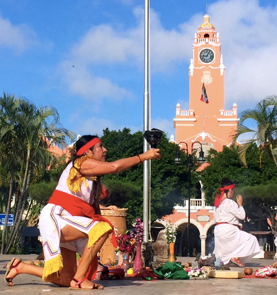 The Plaza Grande is in the heart of the city, and on Sunday morning there was a traditional (or at least I assumed it was traditional...) religious ceremony. Or at least I assumed it was religious...
