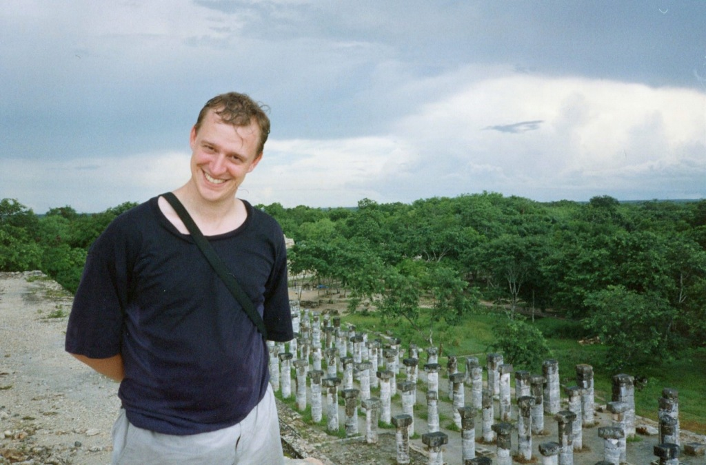 Here I am, drenched from the storm, looking over the complex from atop El Castillo, in 1994