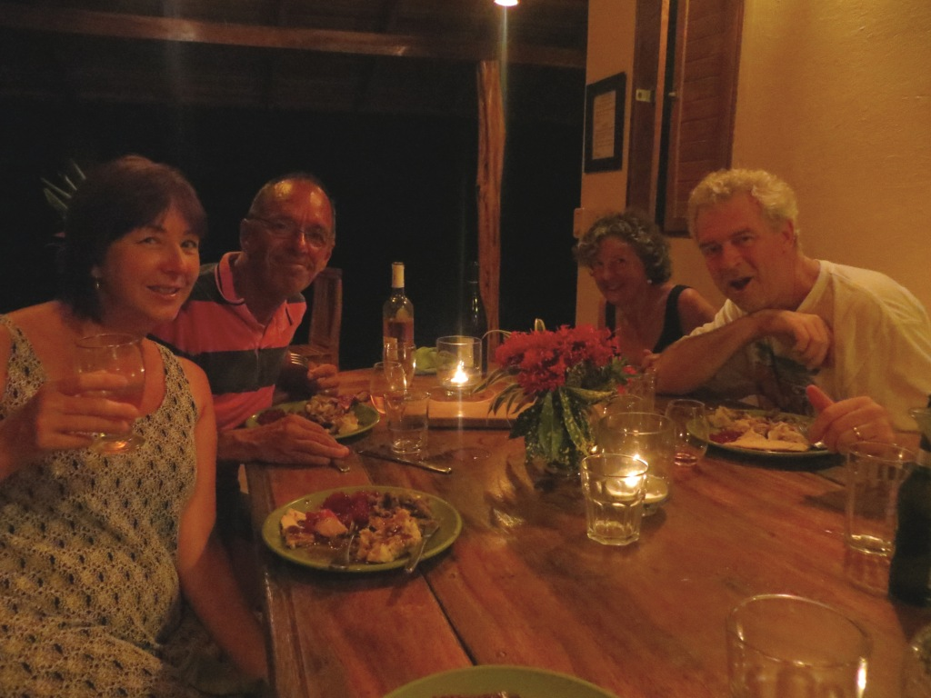 Suzanne, Jim, Ann, and Bart at Thanksgiving dinner