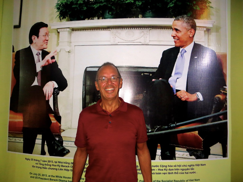 And then I was walking down the street and found President Obama chatting with Vietnamese President Truong Tan Song. OK, they weren't really there, but there was a big poster of their 2013 meeting, suggesting the prestige that goes with a meeting between President Obama and … anyone.
