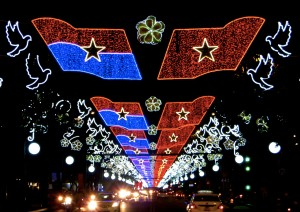 Decorations on Le Duan Boulevard, which runs past our hotel down to the old Presidential Palace