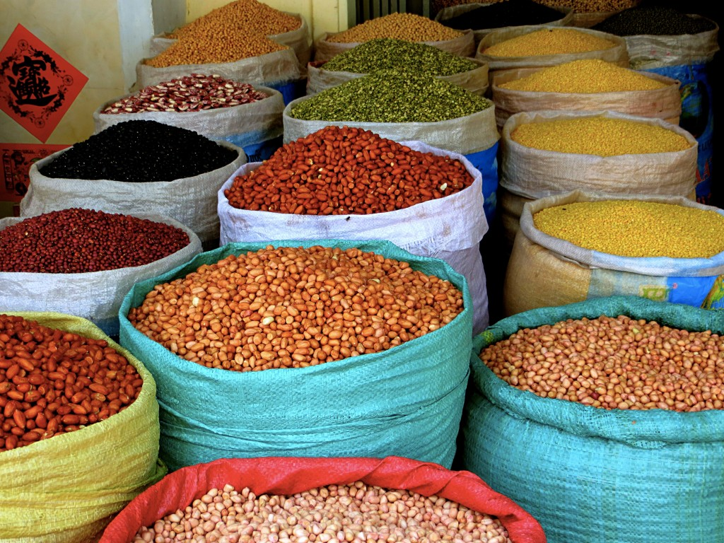 Lots of beans for sale in the market