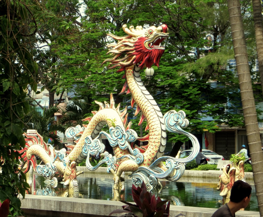 We have a picture of this dragon from our visit in 2001. Two changes, though. Back then the fountain was working, which was really cool. And the dragon was unpainted then, just white. So one step forward and then a step back...