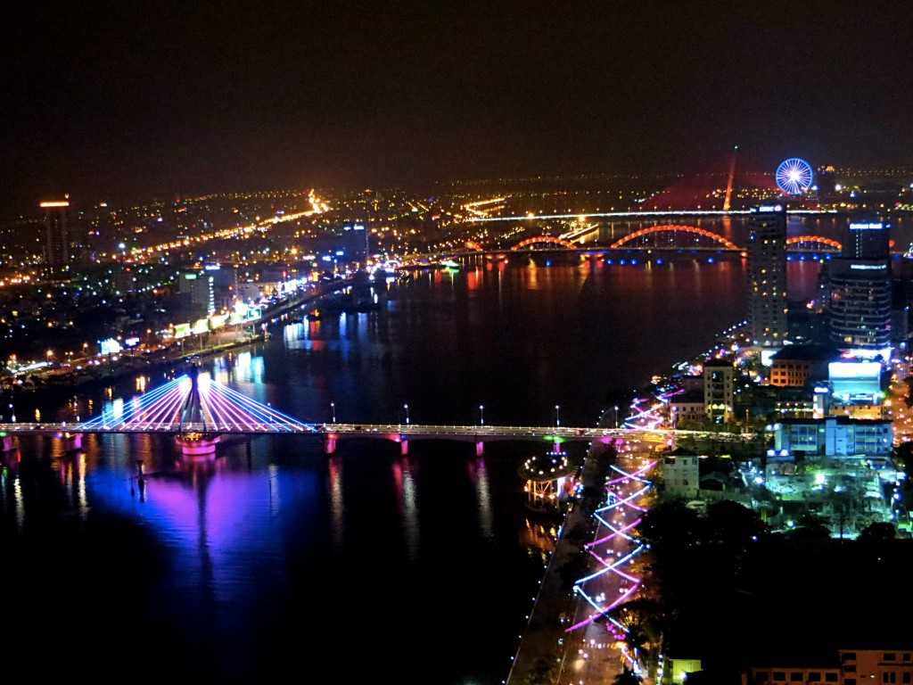 The nighttime view of the Han River in Danang from our hotel