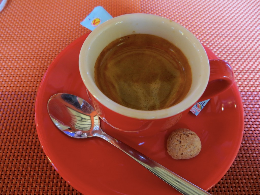 """The highlight of lunch was this """"correcto"""" -  an espresso with a healthy shot of Grappa. Damn that was good!"""
