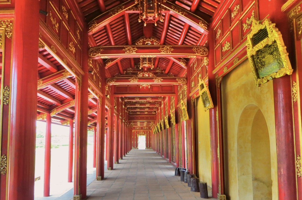 A restored passageway in the Forbidden Purple City, Hue's royal enclosure. Much of it was destroyed during the War, particularly during the Tet offensive, but they are constantly restoring what's left standing.