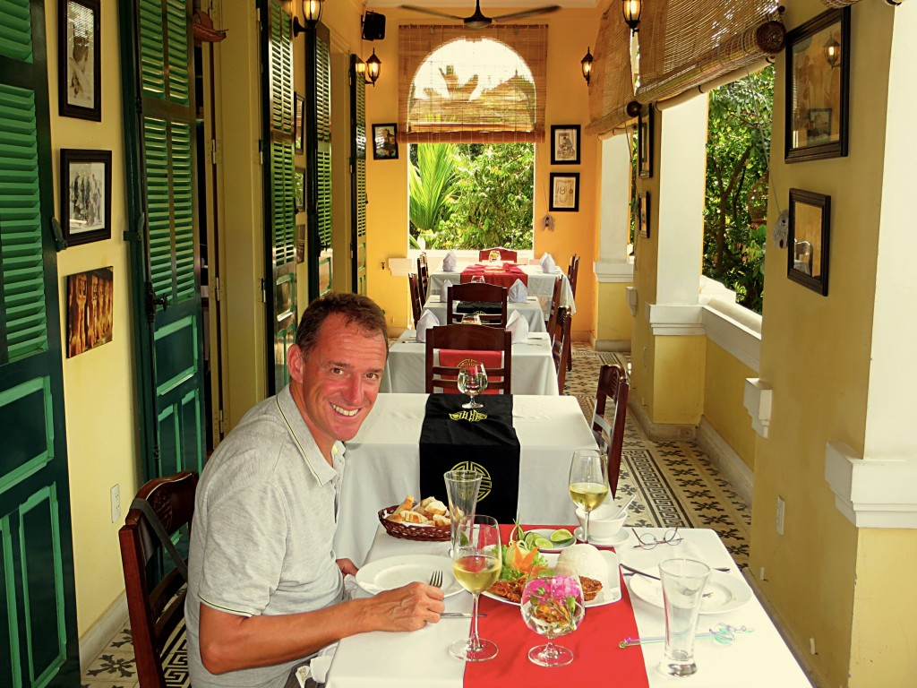 Mark enjoying a classy lunch in a beautiful French colonial building