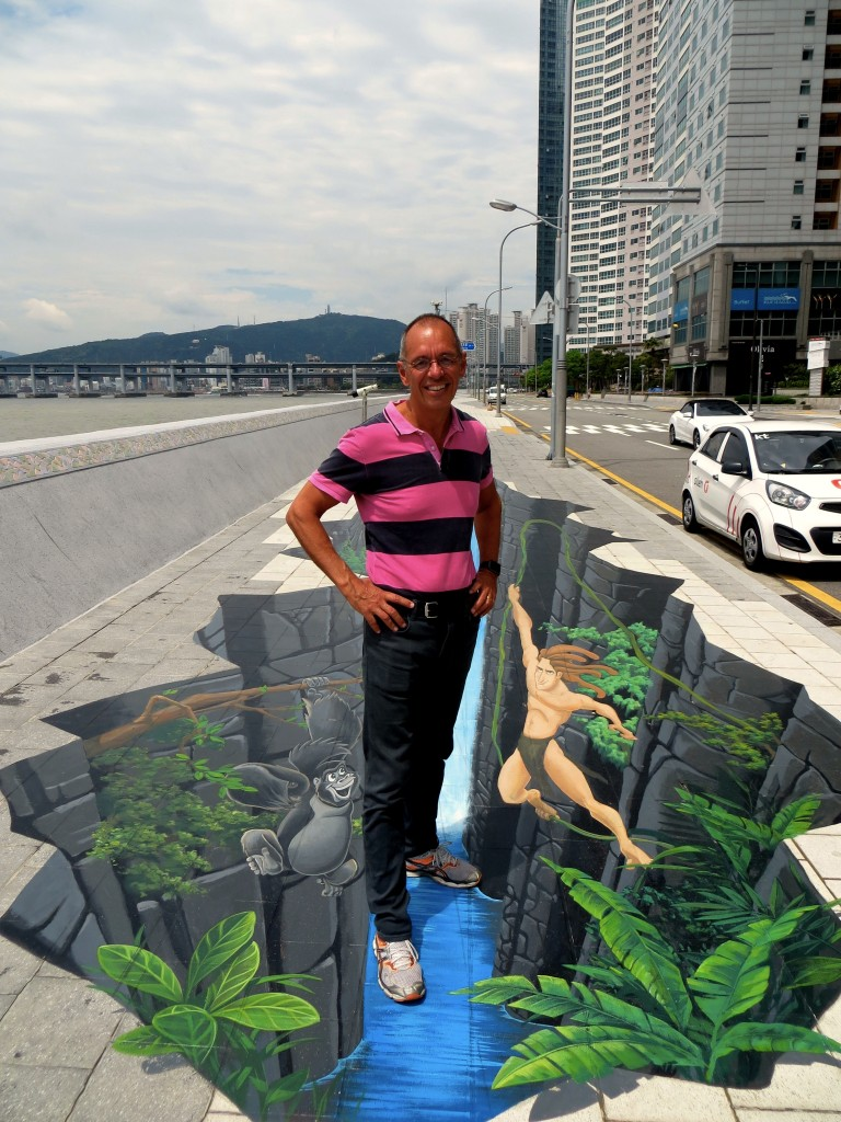 Busan plays up its desire to be seen as an international film center. Here I am standing in a big cave with Tarzan. Weird.