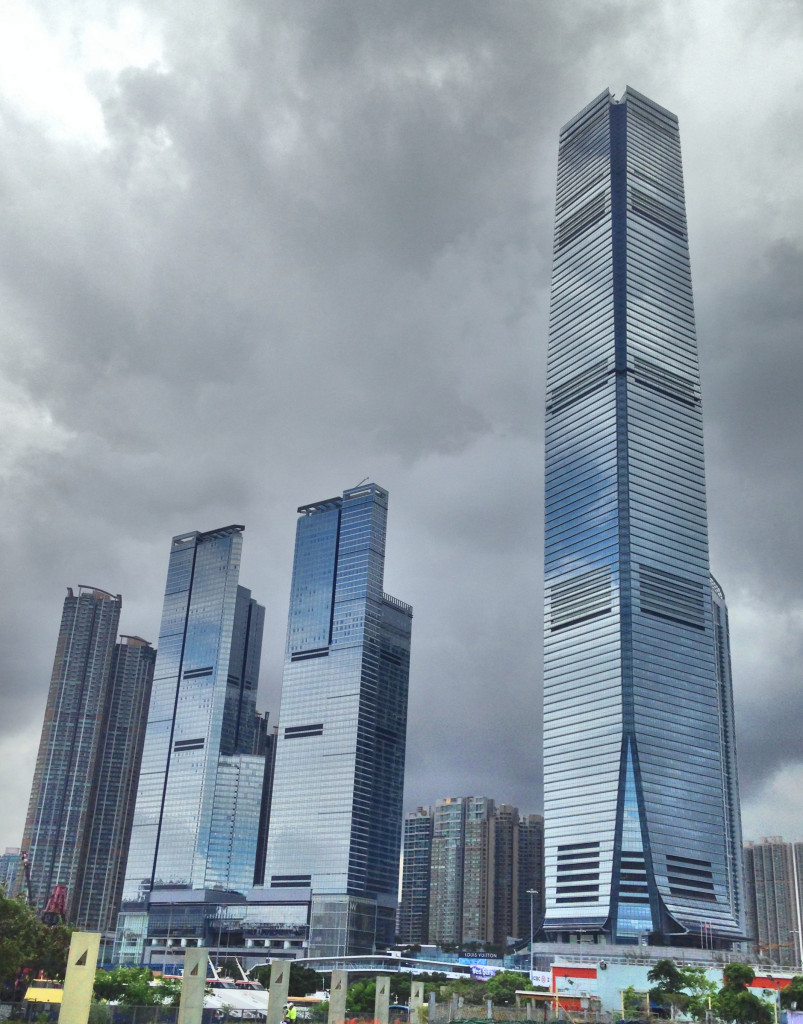 The middle building was our hotel in Kowloon. The tall building on the right includes a Ritz Carlton hotel on the top floors, so one night we went for drinks up on the 136th floor or something, what turns out to be the world's highest bar. Pretty cool.
