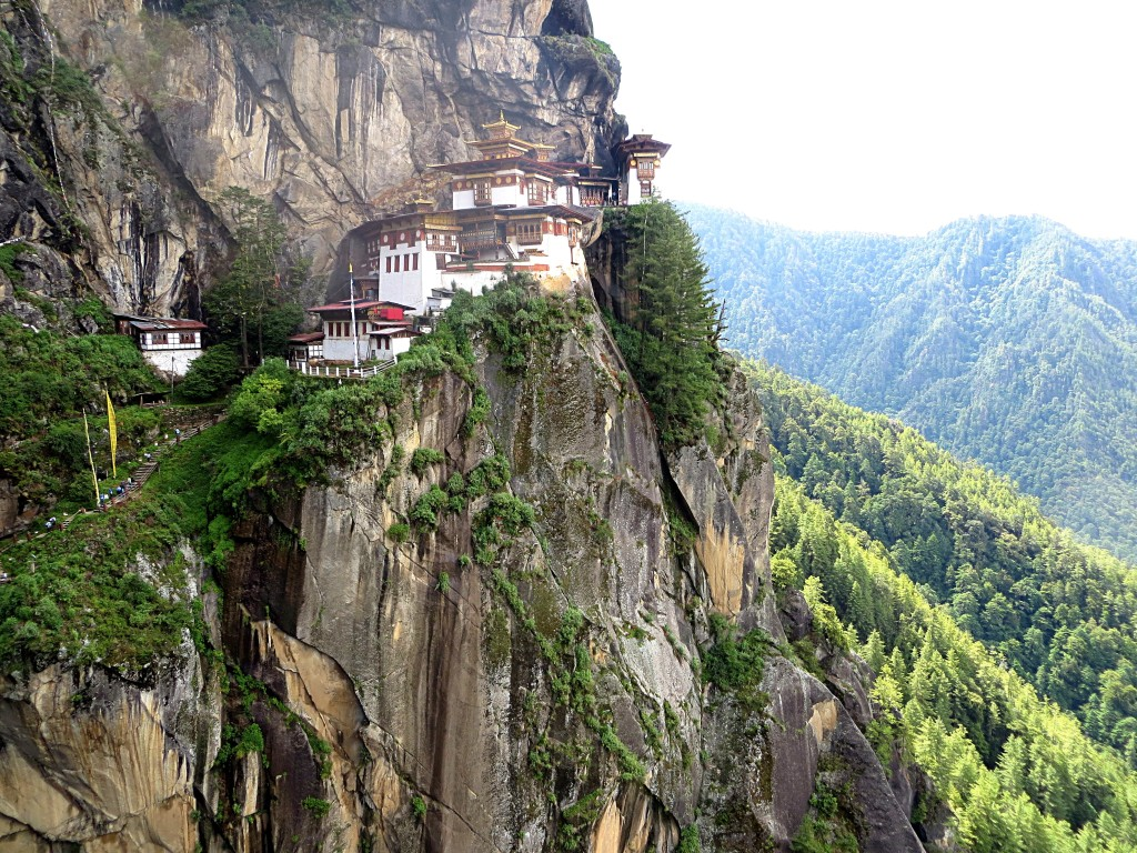 The Tiger's Nest clings to a cliff 3,000 feet above the Paro valley floor.
