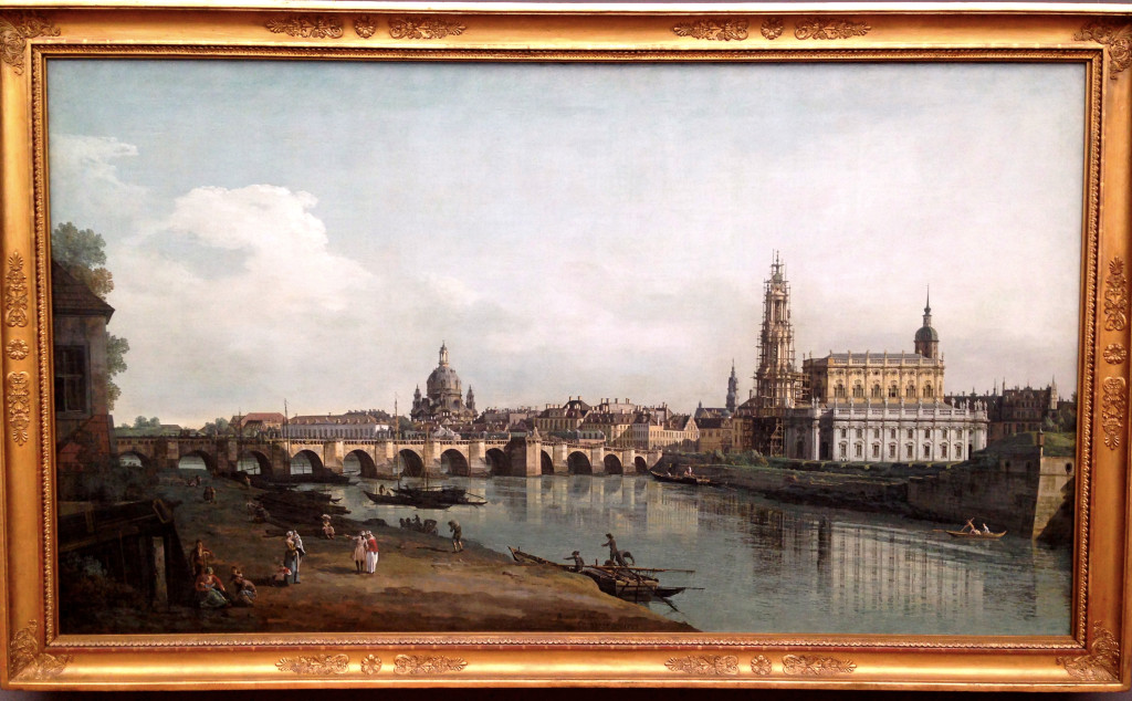 Bernardo Bellotto, aka Canaletto, spent several years in the mid-18th century painting landscapes of Dresden. This one, on display in the Zwinger Museum, would have been drawn from quite close to where our hotel is today.