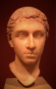 A bust of Cleopatra. She captured Julius Caesar's heart, (probably) bore his only son, and later coupled off with Mark Antony who ended up losing the big civil war to the guy we now know as Augustus. I had read a few years ago that she was powerful and alluring, but not necessarily classically beautiful. I mean, compare this to Nefertiti!