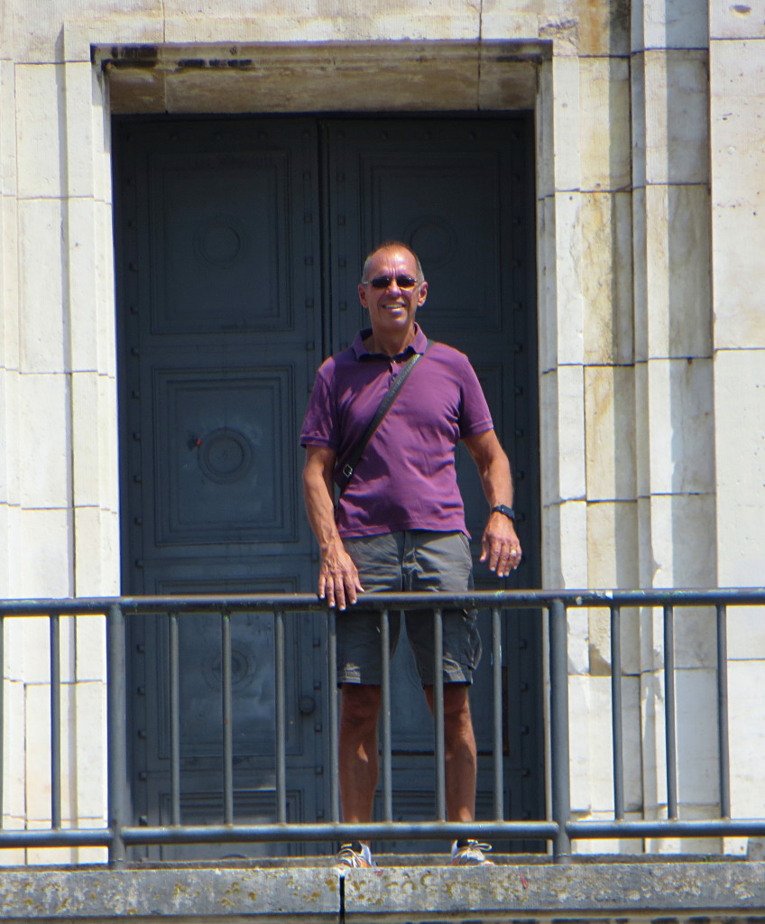 Jim stands in the Führer's box in what is left of the Nuremberg Parade Grounds