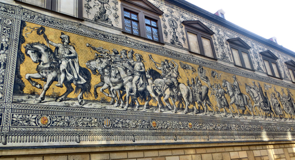 This is a part of a huge frieze in Dresden that almost miraculously wasn't destroyed in the War. It tells the tale of the Electors from the late 16th century through the 17th century, reflecting the changing styles and fashions over the years.