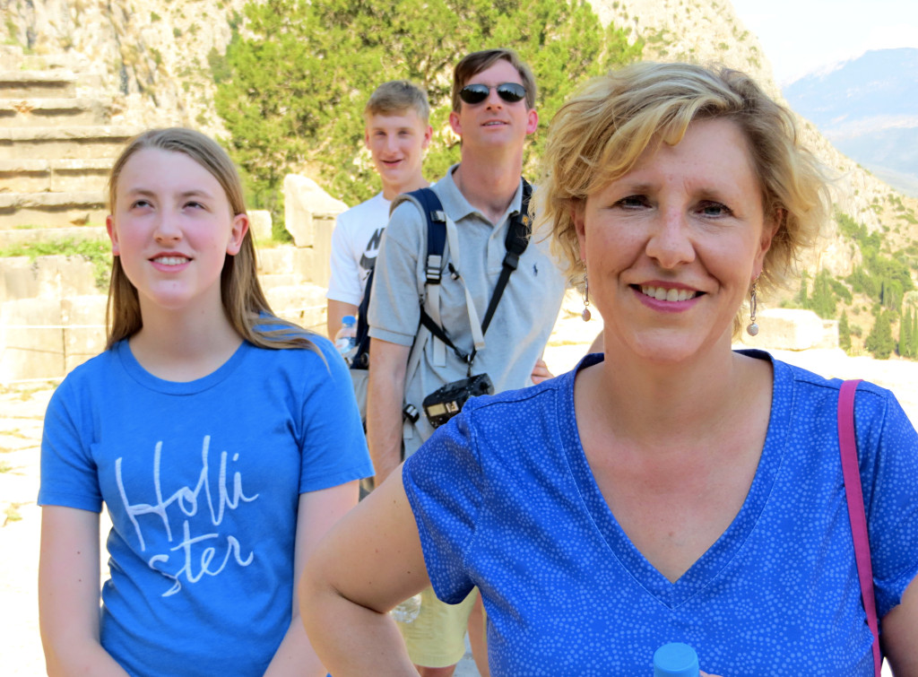 In the brutal afternoon heat while touring the temple of Apollo, I found a tall, thin Cypress tree offering shade. Soon the Germain family was lined up behind me, all enjoying the comparative coolness offered by the tree. So now I introduce, from front to back, the Germains - Laura, Elizabeth, Dan, and Charlie.