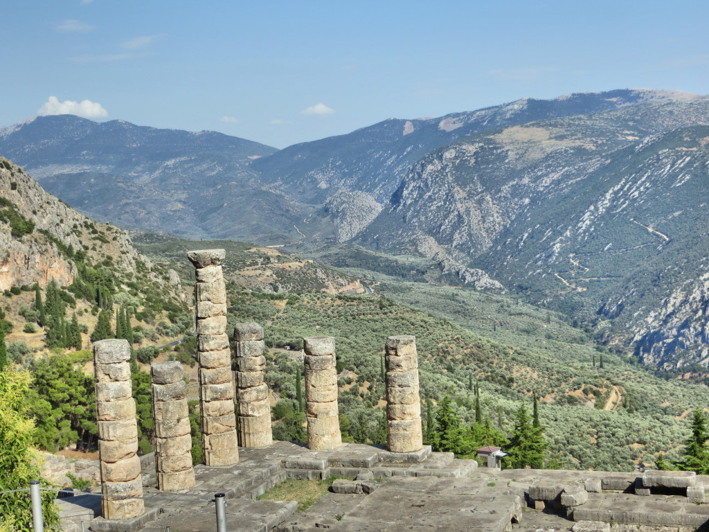 The remaining pieces of Apollo's Temple, with a spectacular view over the Phocis Valley.