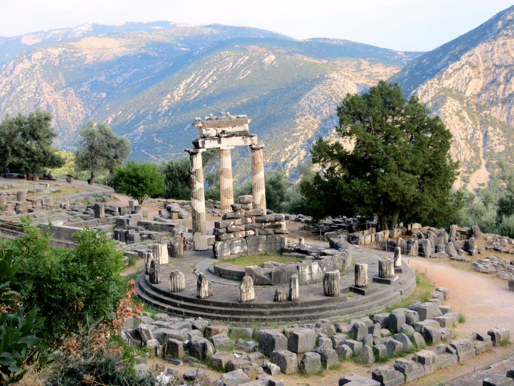 On the road to Delphi and just a half-mile or so below the temple of Apollo stands this temple to Athena, the first temple in the area encountered by pilgrims coming up from Athens