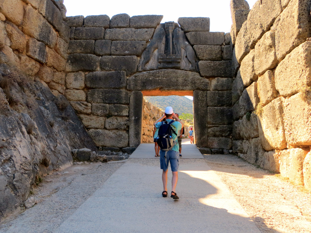 Dan, photographing the Lion Gate at Mycenae, the main entrance to the citadel. It dates from the 16th century BC and is the only monumental Mycenaean sculpture still in existence. Amazingly, it appears to have stood there over the millennia, unlike most ancient ruins that had collapsed and only in recent times been rebuilt.