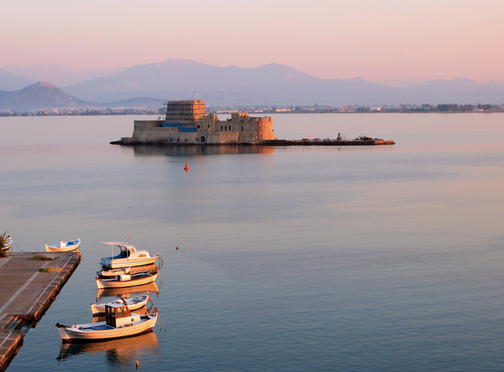 The morning view of the Bourtzi fortress from our hotel, another fortification built by the Venetians