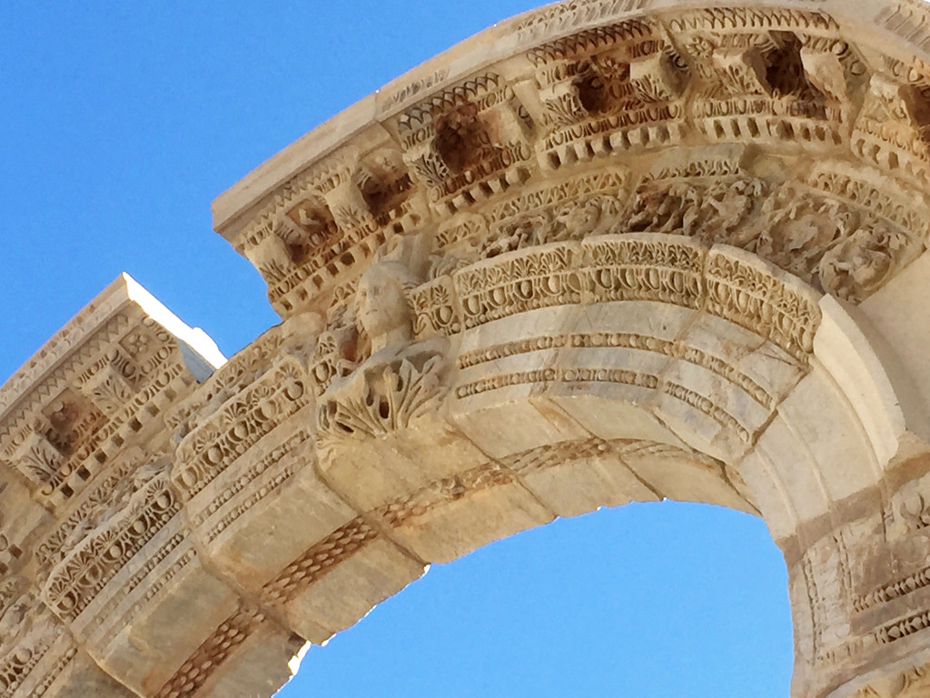 A closeup of the entrance to the Temple of Hadrian