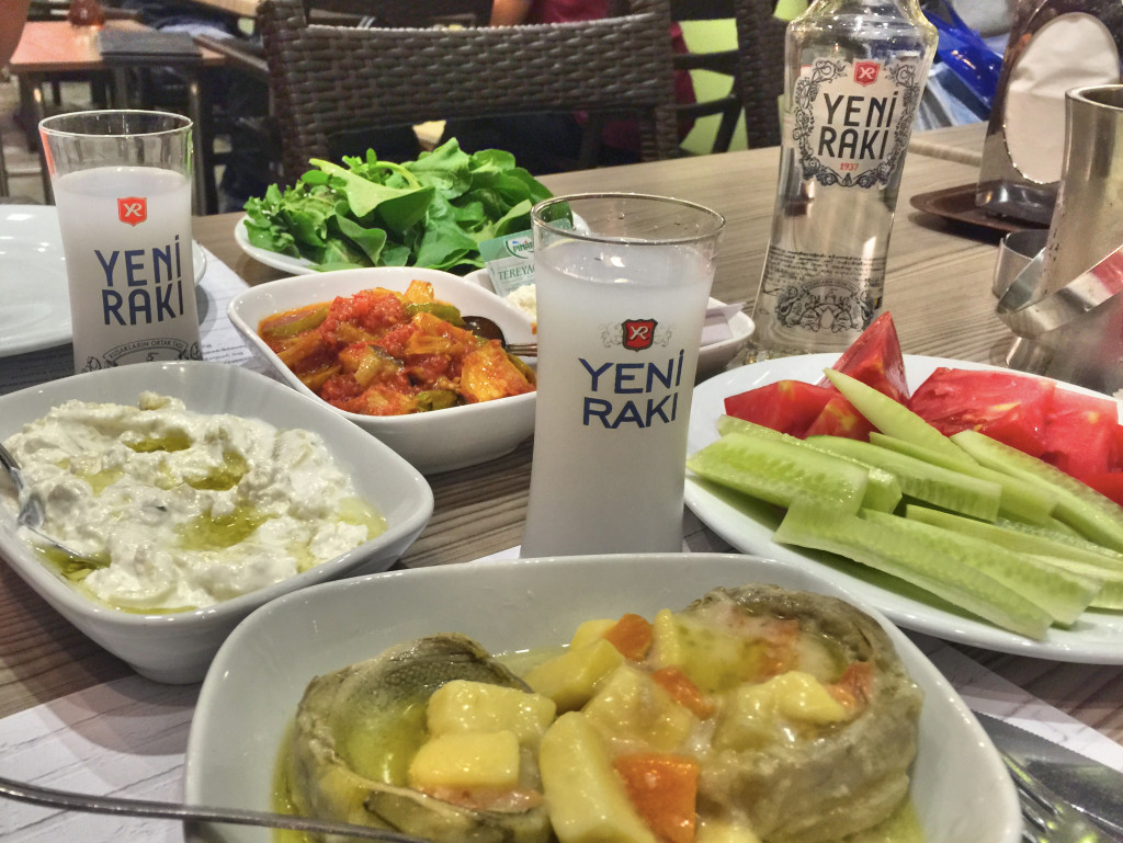 As long as I'm showing food, here's another meal, dinner this time. Artichoke, more eggplant yoghurt, veggies, and of course some raki.