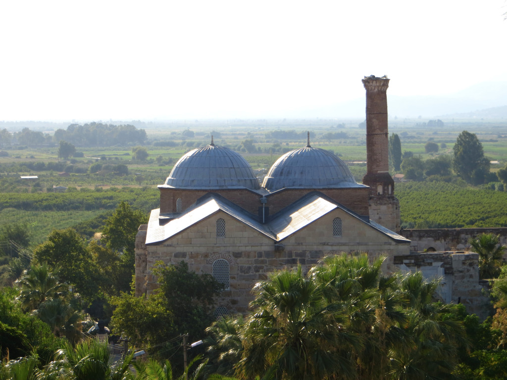 The 14th century Mosque of Isa Bey sits just below the Basilica of St. John. They appear to coexist peacefully.