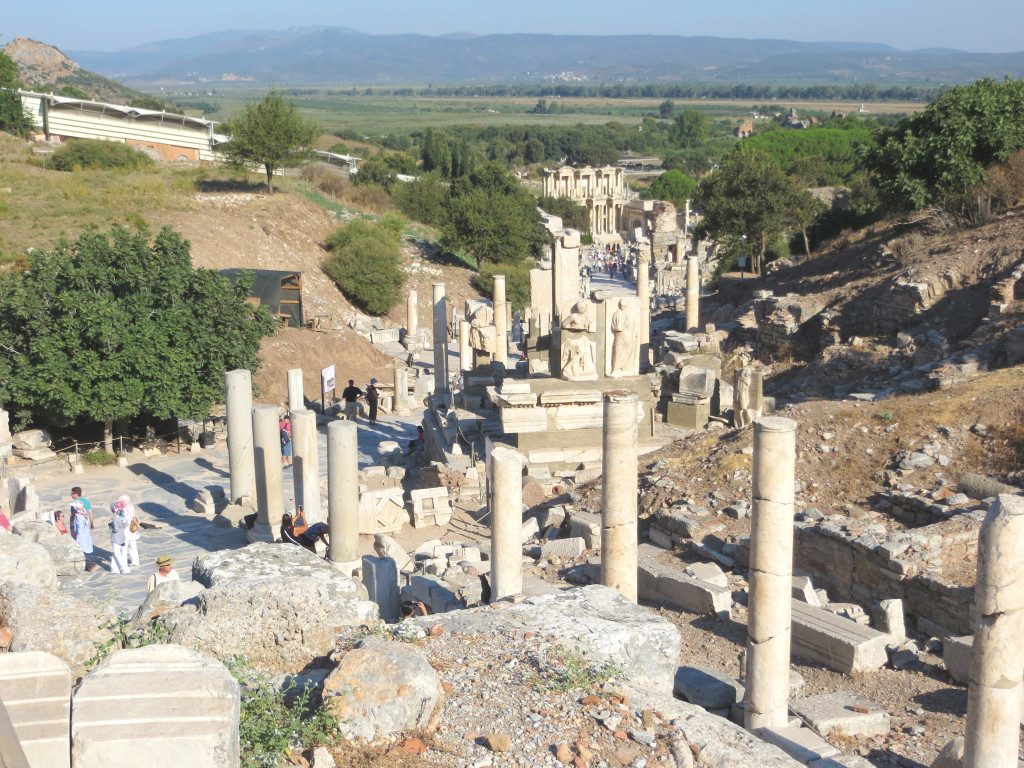 Looking down Curetes Way, the main thoroughfare in Ephesus, toward the Library of Celsus