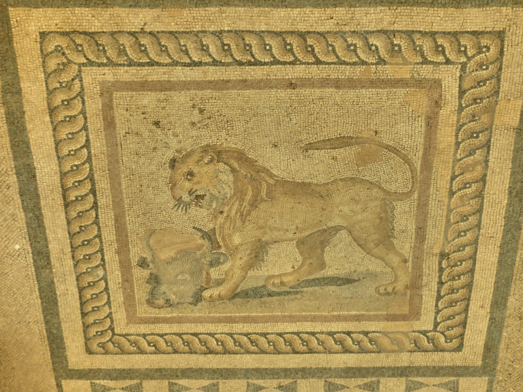 A closer view of just one piece of flooring, a lion devouring a lamb. Can't blame him, I like lamb, too.