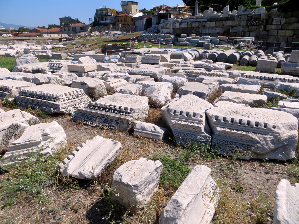 Most of the grounds of the Agora is either empty or taken up by pieces waiting to be put together: pediments here, capitals over there, lintels in that area, and so on