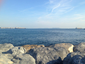 The Sea of Marmara, along the southeast coast of Istanbul, with the rocks that just invite you (me) to lied down and read