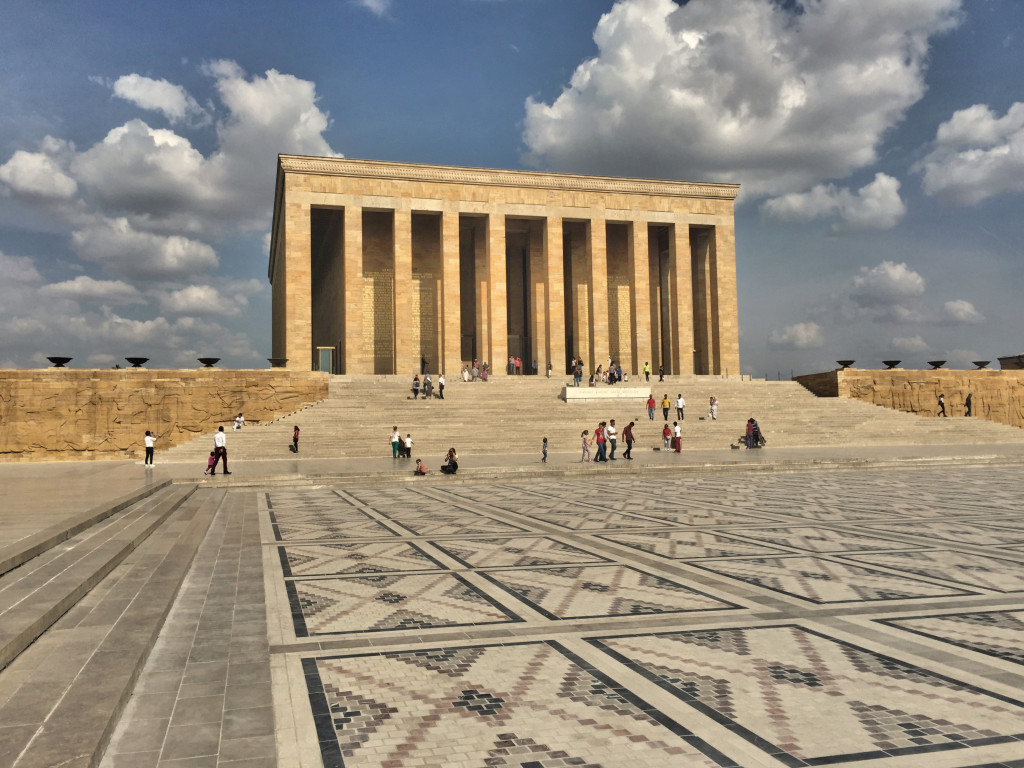 The mausoleum is intended to inspire awe. It was certainly big, and there were lots and lots of pictures of Mustafa Kemal Ataturk.