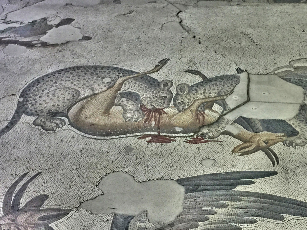 A small piece of the floor mosaic at the Great Palace Mosaic Museum. Other parts weren't quite this gory.